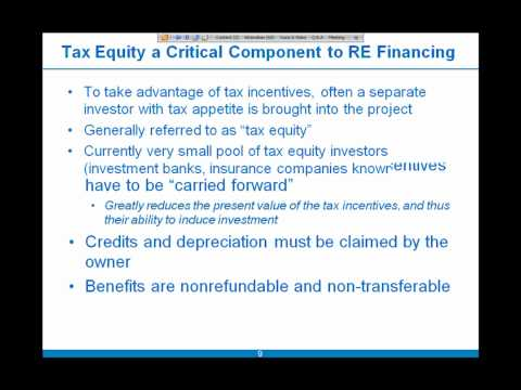 SAM Financing Part 2 of 5: Federal Tax Incentives and Tax Equity