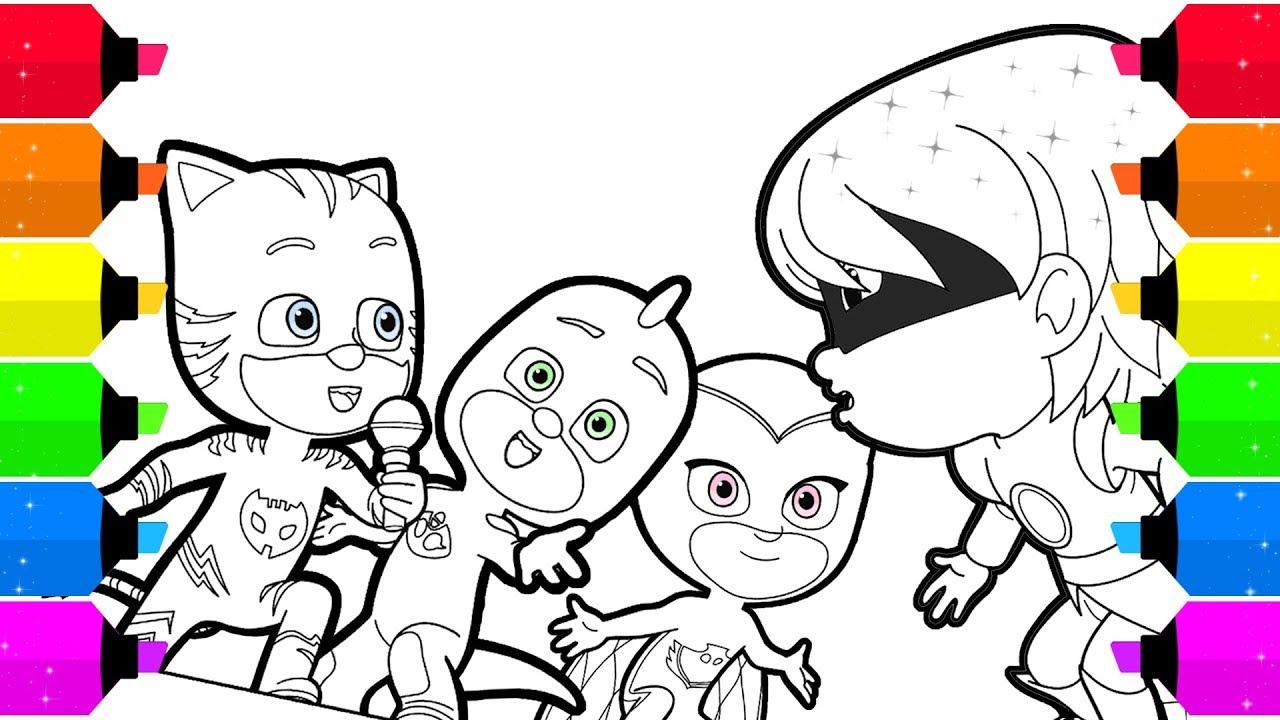 pj masks coloring page singing catboy gekko & owlette