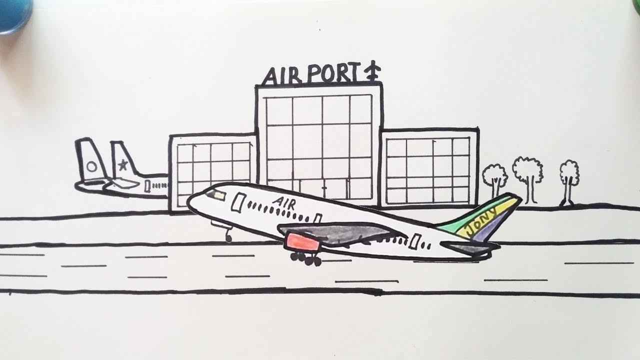 Drawing Airport For Beginners How To Draw Airport Step By Step