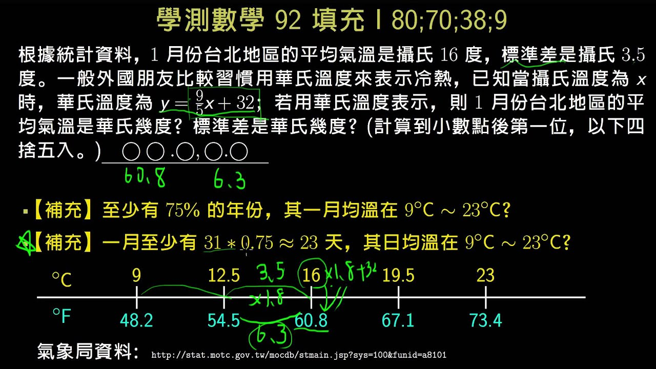 學測數學92填充I 攝氏華氏轉換對標準差的影響 - YouTube