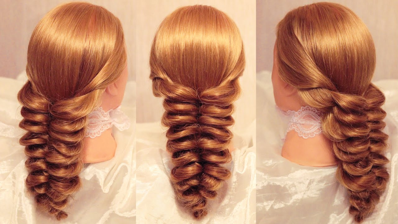 Прическа коса из хвостиков с резинками