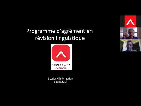 Programme d'agrément en révision linguistique – Réviseurs Canada : Webinaire d'information