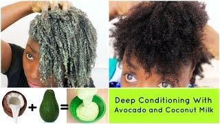 Deep Conditioning Natural Hair 4c Avocado and Coconut Milk  DIY Hair Mask Treatment Wash Day Routine