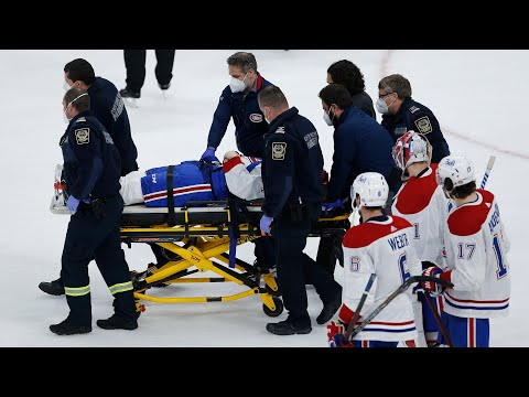 'Very dirty play': Habs' Jake Evans leaves game on stretcher after vicious hit from Mark Scheifele