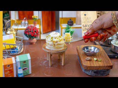 E#124   Miniature Rasmalai Cake Recipe   Mini Cake Without Oven   Miniature Cooking