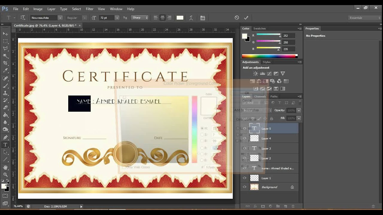 how to make certificate in photoshop - YouTube