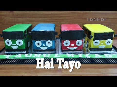 How to Decorating Birthday Cake Tayo 4 at Once - How to Make Birthday Cake Buttercream