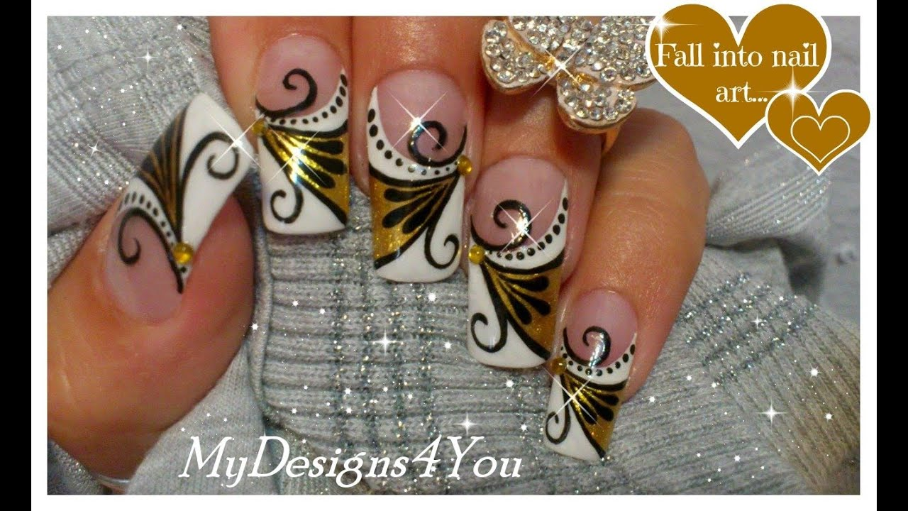 Gold Nail Art Tutorial   Design for Long Diva Nails ♥ Золотой ...