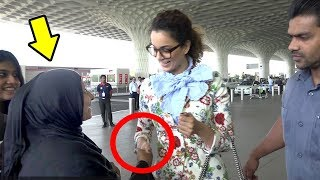 Kangana Ranaut's Sweet Gesture For Lady FAN At Airport