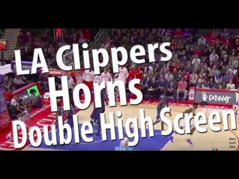 LA Clippers Horns Double High Screen | Horns Basketball Offense