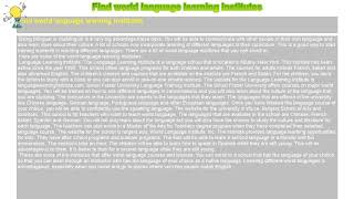 How to : Find world language learning institutes