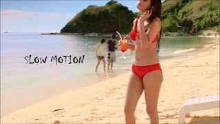 sonal chauhan beach walk in red swimsuit BLU RAY