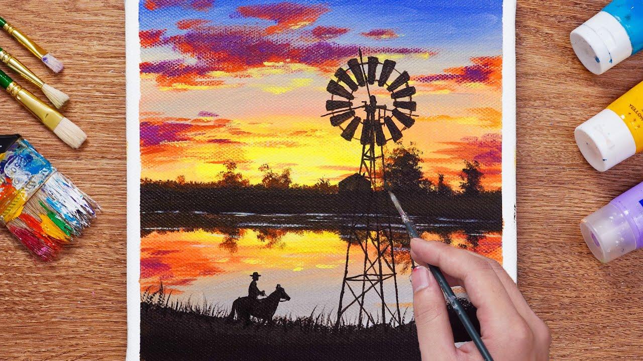 Beautiful Sunset Scenery Painting Acrylic /  Riding Horse - Daily Art 106