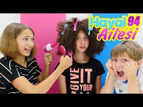 Hayal Ailesi. Polen kuaförde! Saç boyatma ve güzellik yapma oyunu