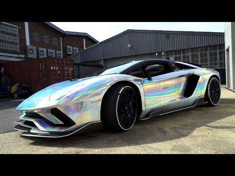 Dazzling Chrome Holographic Lamborghini Aventador Wrap For Grand Tour
