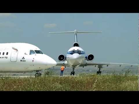 Belavia TU-154M engine start-up, Bourgas Airport, Bulgaria 2012