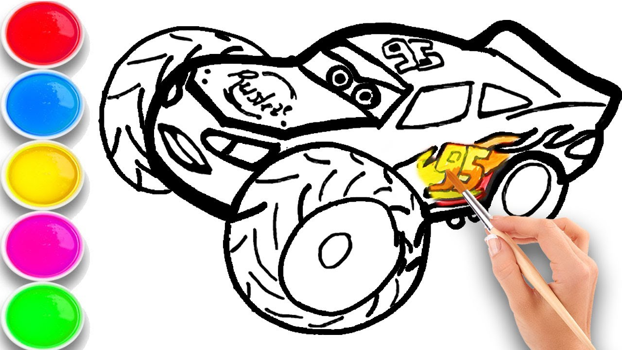 Lightning McQueen SUV Drawing and coloring for kids