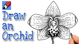 How to draw an Orchid Flower Real Easy