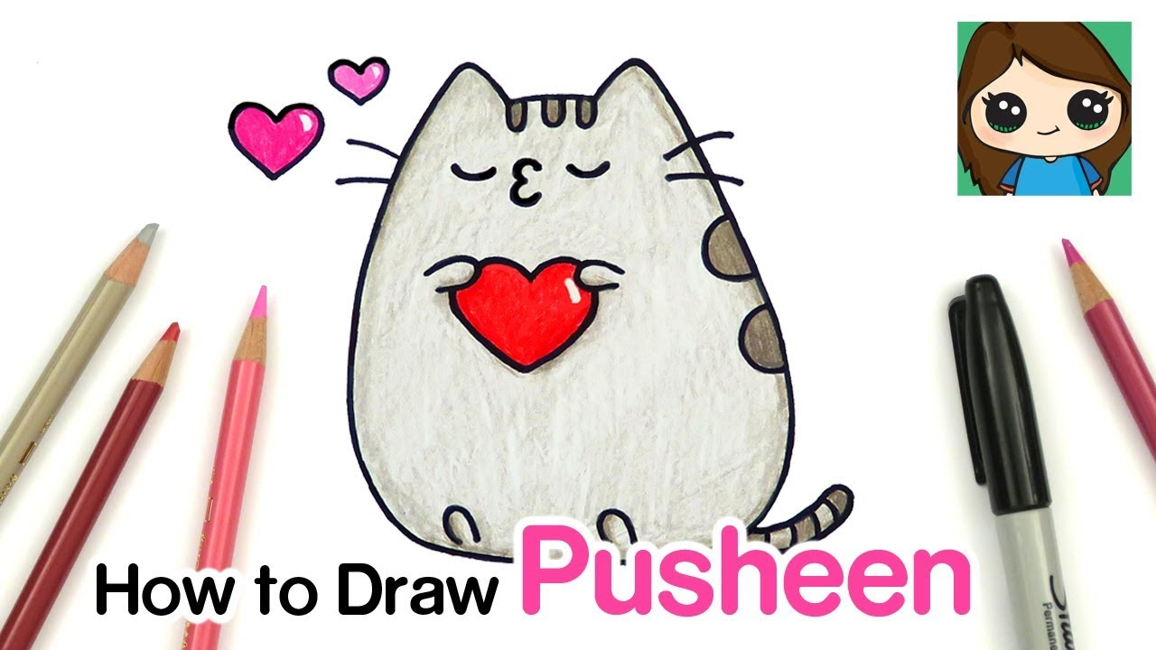 How To Draw Kissing Pusheen Valentines Youtube
