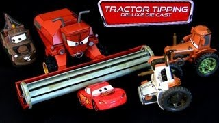 Disney Cars Tractor Tipping Deluxe Diecast Set Frank, 3 tractors Mater Lightning McQueen Pixar toys