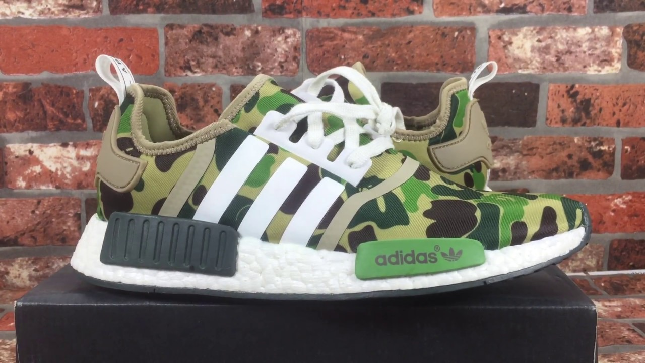 new arrival aed32 ea39b Update final version Adidas X Bape NMD R1 Camo BA7326 unboxing review from