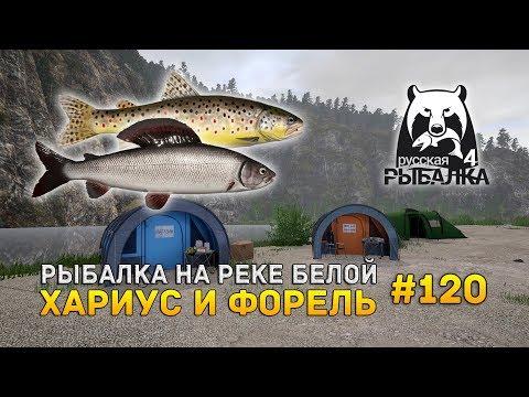 Русская Рыбалка 4 #120 - Рыбалка на реке Белой. Хариус и Форель