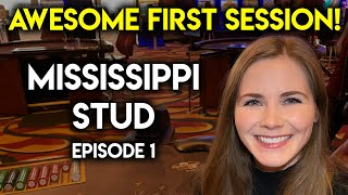 Lucky First Try! $1400 VS Mississippi Stud Poker! Lots Of Exciting Action!