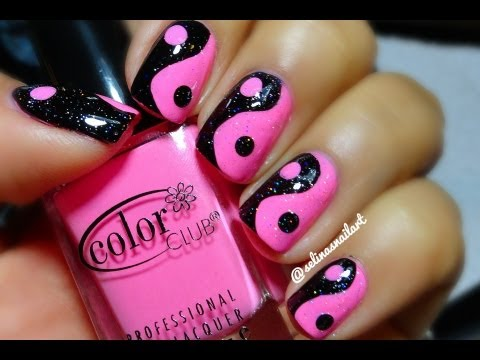 Pink & Black Yin Yang Nail Art Tutorial - Pink & Black Yin Yang Nail Art Tutorial