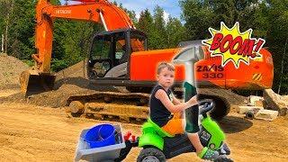 Машинки для Мальчиков - Экскаватор сломался Тёма приехал на помощь - Про трактор для Детей