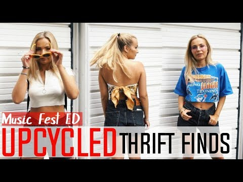 Upcycling Thrift Finds ➣ Ribbon Denim Shorts// Zipper Tshirt// Safety Pin T// Scarf Tube Top