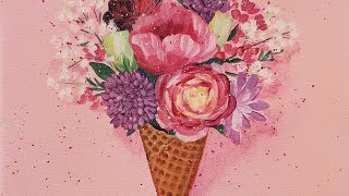 Easy Ice Cream Cone Flower Bouquet Acrylic Painting LIVE Tutorial