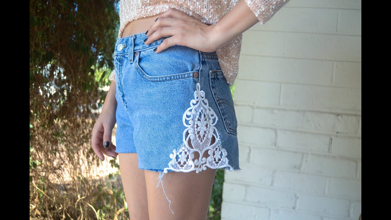 D.I.Y: Denim Lace Inset Shorts - YouTube