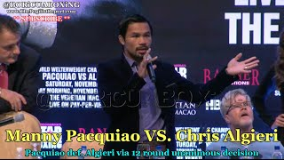 manny pacquiao calls out floyd mayweather pacquiao vs algieri post fight presser