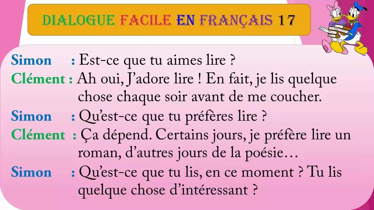 Dialogue facile en fran ais 17 youtube for Sal9 en francais