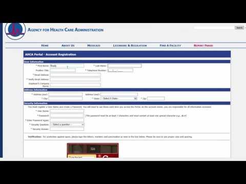 AHCA Portal Registration