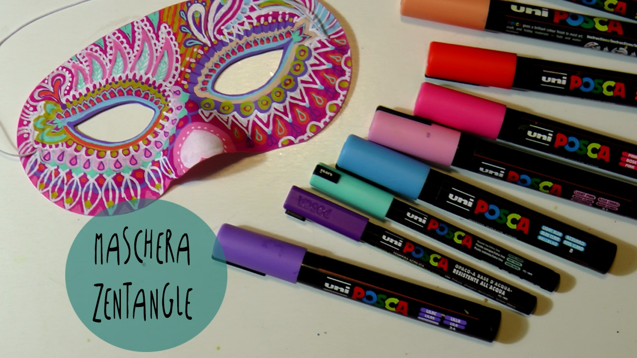 ZENTANGLE per DECORARE una maschera di carnevale con UNI POSCA * ART Tv by Fantasvale