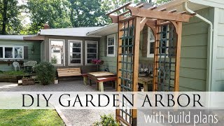 Looking for a way to add texture and dimension to your outdoor decor? Create this DIY garden arbor using our build plans AND ...