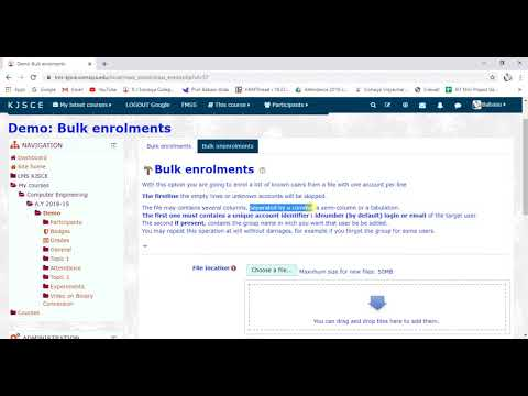 Bulk enrollment of students in a course | LMS KJSCE | Moodle