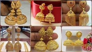 Latest And Trendy 22k Yellow Gold Jhumka design Collection || Top Class Earrings Designs Ideas