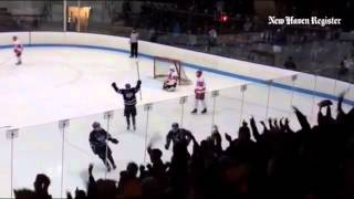 Brian McKee's winning goal in North Branford's 4-3 2OT D2 hockey semifinal victory over Conard #cthk