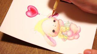 100均DIY*写真たてを簡単リメイク*水彩絵の具でかわいいイラストをお絵かきしたよ*