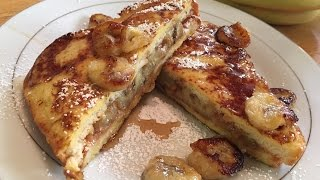 Easy Stuffed French Toast with Caramelized Banana and Peanut Butter (Elvis Style)