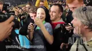 Sonny Bill Williams gives young fan his medal after he gets tackled by security @RWC 2015