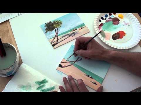 10-Minuten-Malerei: Palmen am Strand