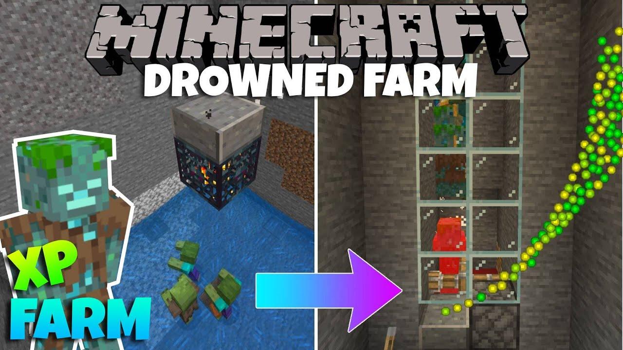 Fully AFK Drowned XP Farm - Minecraft Bedrock Edition (Working 12.126)  Trident Farm Tutorial 12