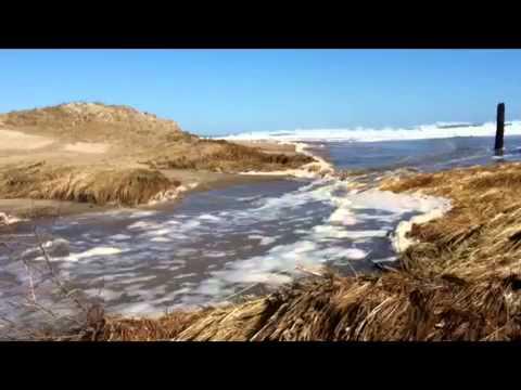 Sea pours thru breach into Pamet River Valley Truro