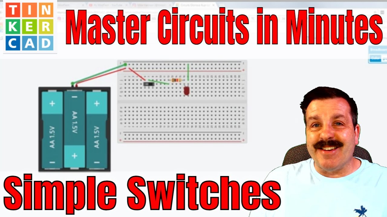 Add a switch to a TinkerCAD circuit - YouTube