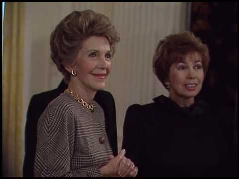 Nancy Reagan gives a Tour of the White House to Raisa Gorbachev on December 9, 1987