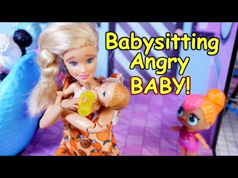 Lol Surprise Dolls And BARBIE Babysit A Baby!!
