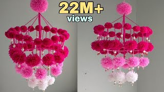 DIY Woolen Jhumar/Wool Chandelier/Wool Wind Chime/craft idea out of wool